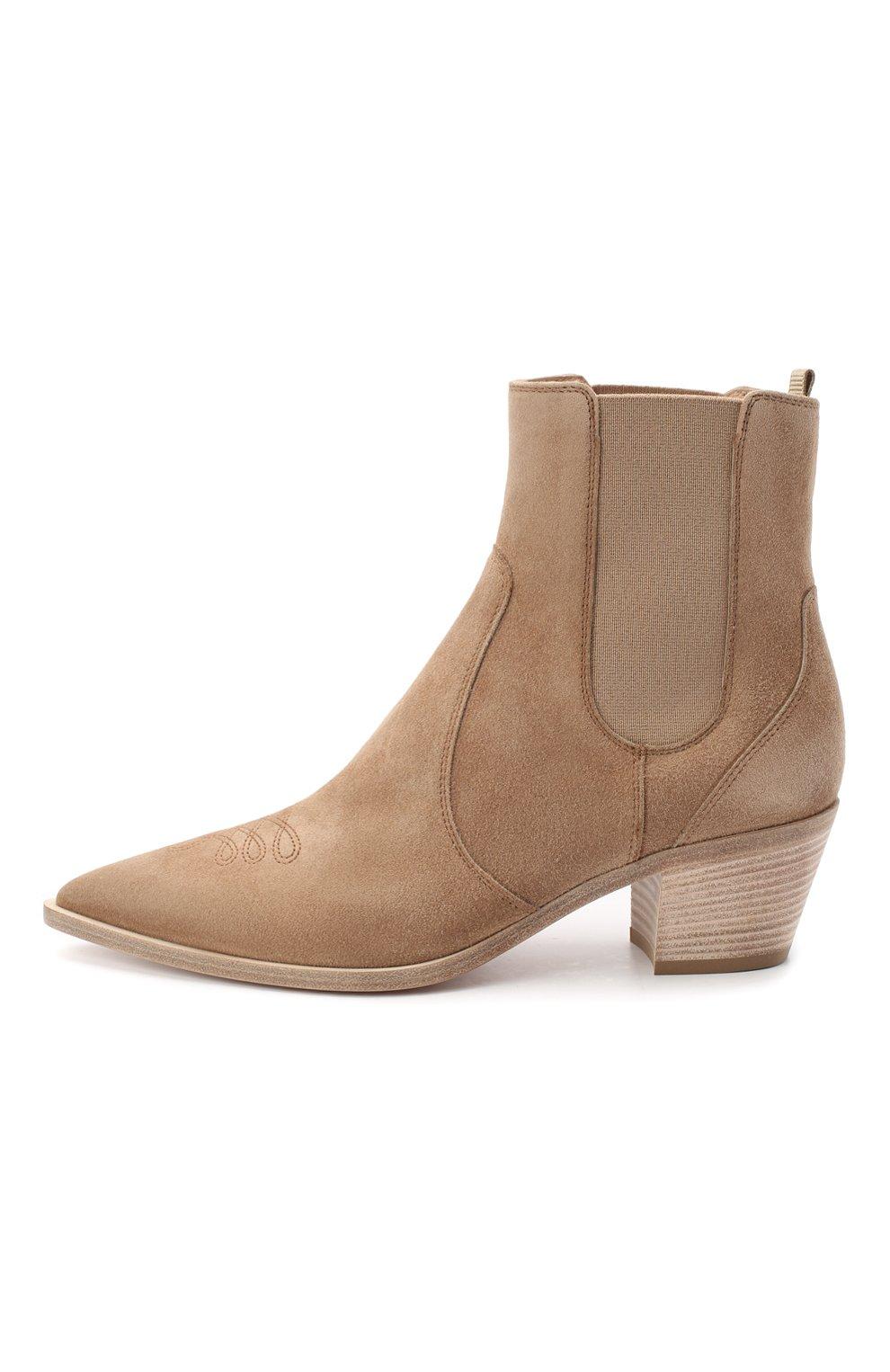 Женские кожаные ботинки romney 45 GIANVITO ROSSI бежевого цвета, арт. G70343.45CU0.CASBISQ | Фото 3
