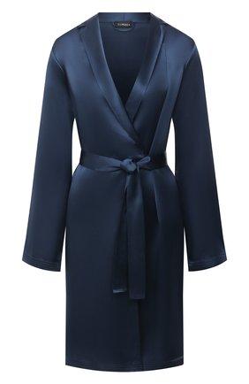 Женский шелковый халат LA PERLA синего цвета, арт. 0020293/C0 | Фото 1