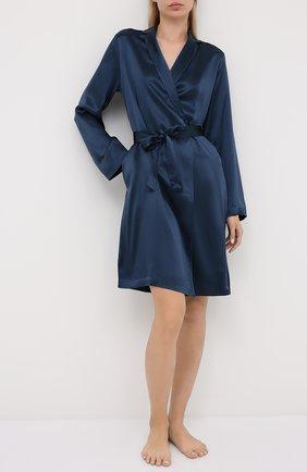 Женский шелковый халат LA PERLA синего цвета, арт. 0020293/C0 | Фото 2