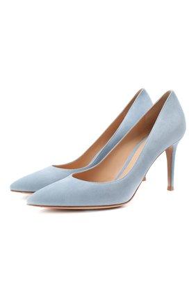 Женская замшевые туфли gianvito 85 GIANVITO ROSSI голубого цвета, арт. G24580.85RIC.CAMST0W | Фото 1