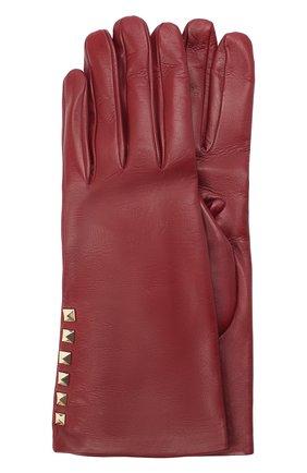 Женские кожаные перчатки VALENTINO бордового цвета, арт. UW2GDA16/NAP | Фото 1