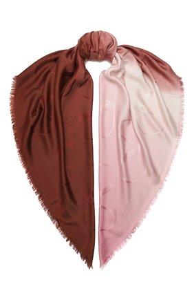 Женская шаль из шелка и шерсти VALENTINO бордового цвета, арт. UW2EB104/ZVG | Фото 1 (Материал: Текстиль, Шерсть)