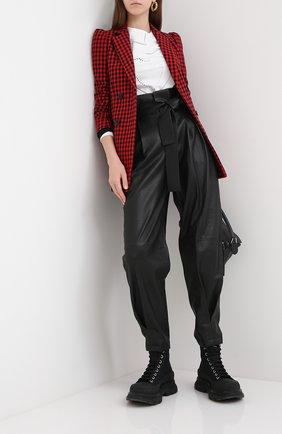 Женские кожаные брюки REDVALENTINO черного цвета, арт. UR3NF00G/5BW | Фото 2
