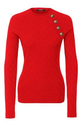 Женская пуловер BALMAIN красного цвета, арт. UF13114/K110 | Фото 1