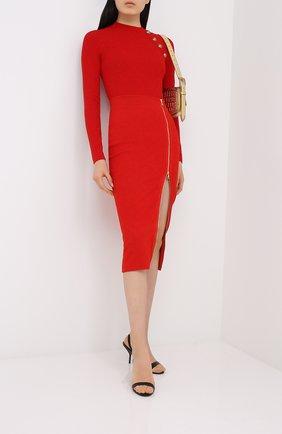 Женский пуловер BALMAIN красного цвета, арт. UF13114/K110 | Фото 2
