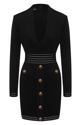 Женское платье из вискозы BALMAIN черного цвета, арт. UF16338/K119 | Фото 1