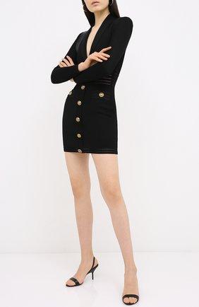 Женское платье из вискозы BALMAIN черного цвета, арт. UF16338/K119 | Фото 2