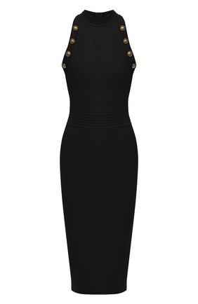 Женское платье из вискозы BALMAIN черного цвета, арт. UF16534/K110 | Фото 1