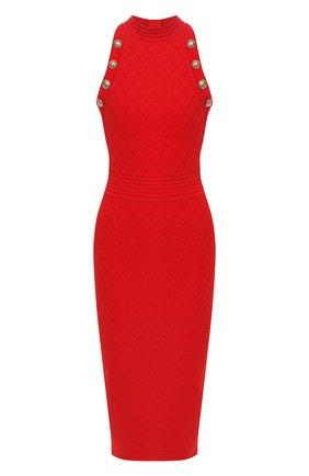 Женское платье из вискозы BALMAIN красного цвета, арт. UF16534/K110 | Фото 1