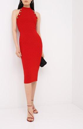 Женское платье из вискозы BALMAIN красного цвета, арт. UF16534/K110 | Фото 2