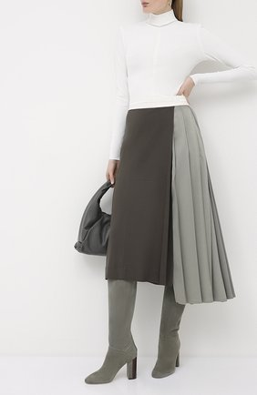 Женские замшевые сапоги jeanne LORO PIANA серого цвета, арт. FAI2296 | Фото 2