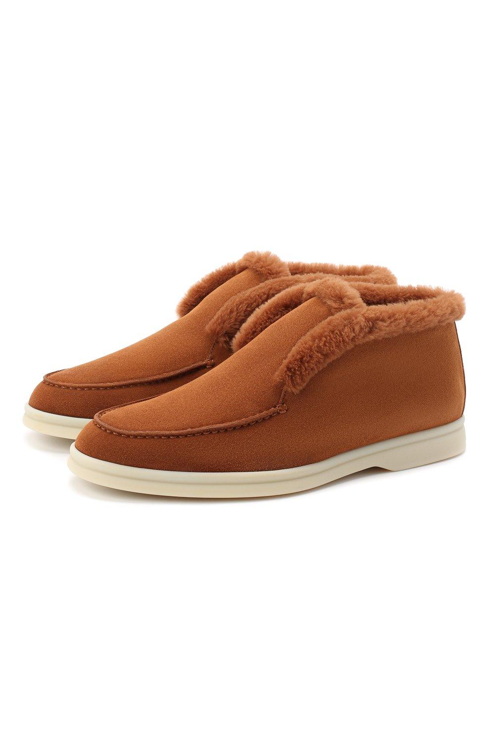 Женские замшевые ботинки LORO PIANA коричневого цвета, арт. FAG3602   Фото 1