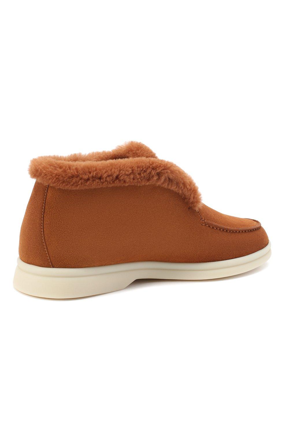 Женские замшевые ботинки LORO PIANA коричневого цвета, арт. FAG3602   Фото 4