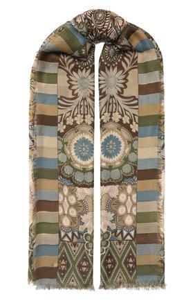 Женская шаль из кашемира и шелка majorelle soffio LORO PIANA хаки цвета, арт. FAI9906 | Фото 1