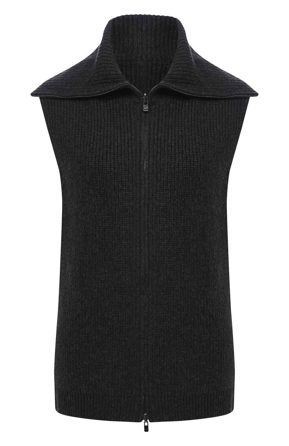Женский кашемировый жилет LORO PIANA темно-серого цвета, арт. FAL2959 | Фото 1