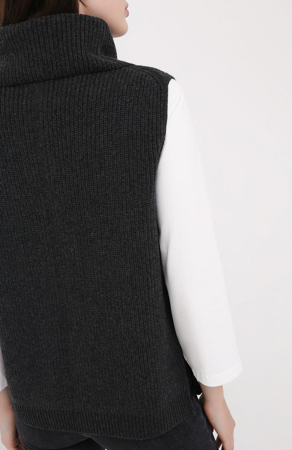 Женский кашемировый жилет LORO PIANA темно-серого цвета, арт. FAL2959 | Фото 4
