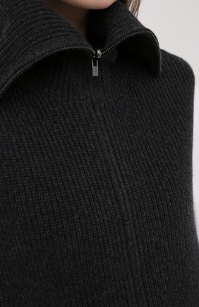 Женский кашемировый жилет LORO PIANA темно-серого цвета, арт. FAL2959 | Фото 5