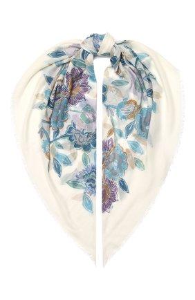Женская шаль из кашемира и шелка LORO PIANA голубого цвета, арт. FAL3539 | Фото 1