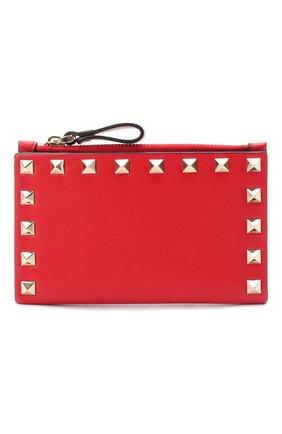Женские кожаный кошелек valentino garavani rockstud VALENTINO красного цвета, арт. UW2P0605/B0L | Фото 1
