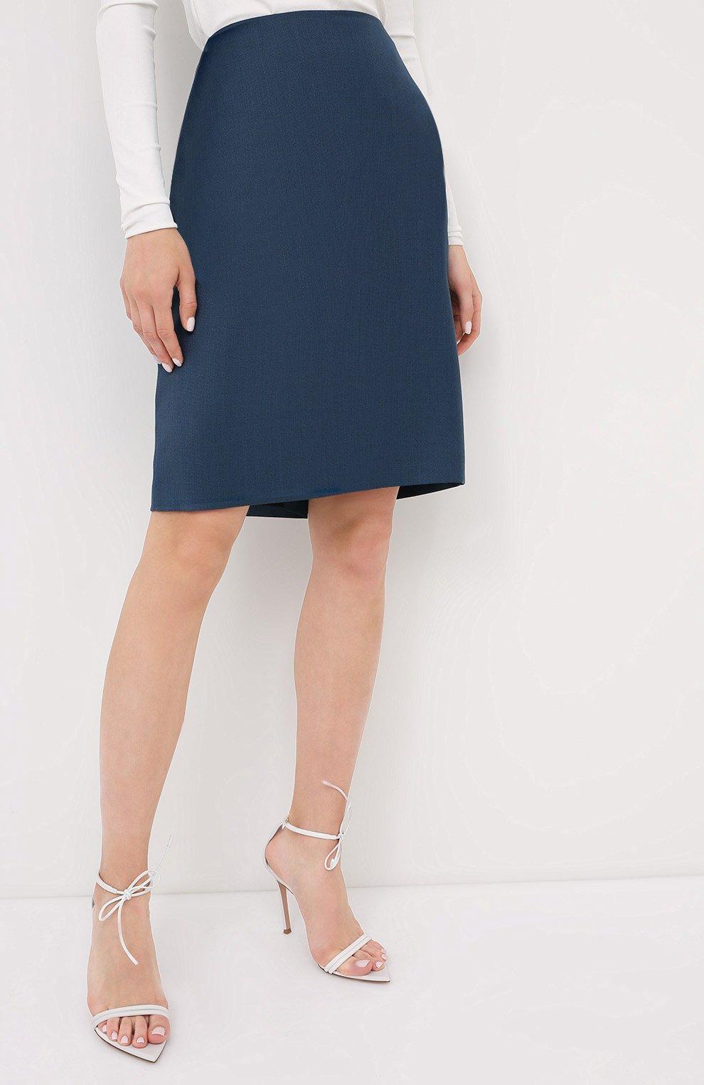 Женская юбка BOSS темно-синего цвета, арт. 50430497   Фото 3