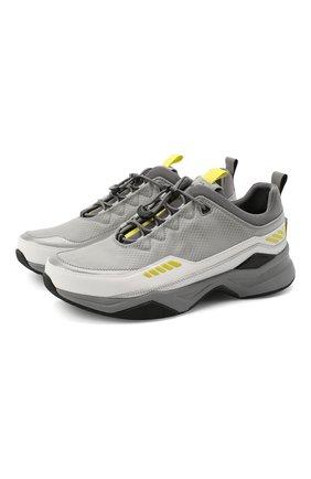 Мужские комбинированные кроссовки HUGO светло-серого цвета, арт. 50433618 | Фото 1