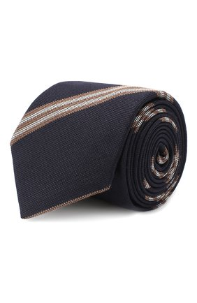 Мужской галстук из шерсти и шелка BRUNELLO CUCINELLI темно-синего цвета, арт. ML8880018 | Фото 1