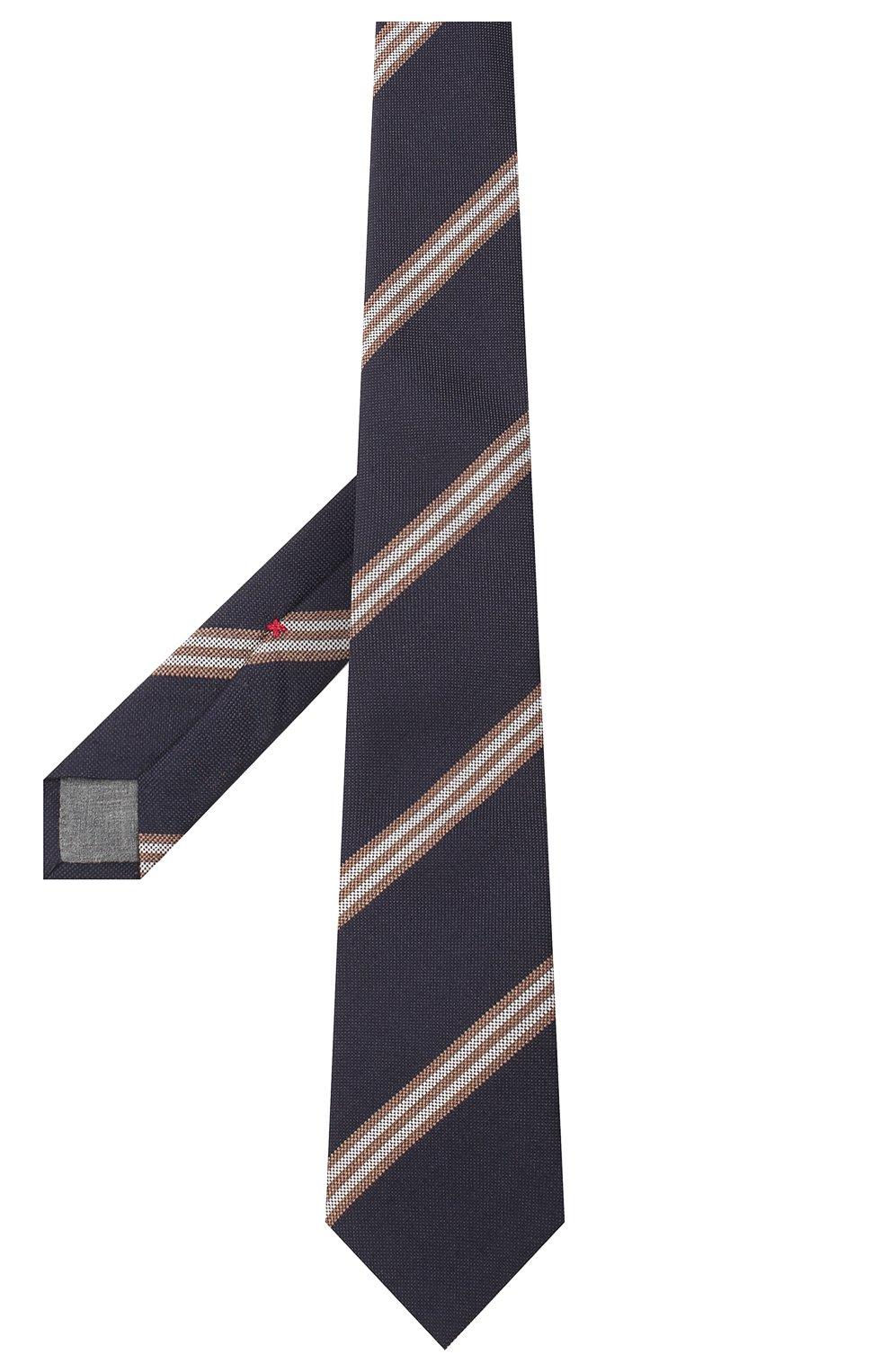 Мужской галстук из шерсти и шелка BRUNELLO CUCINELLI темно-синего цвета, арт. ML8880018 | Фото 2