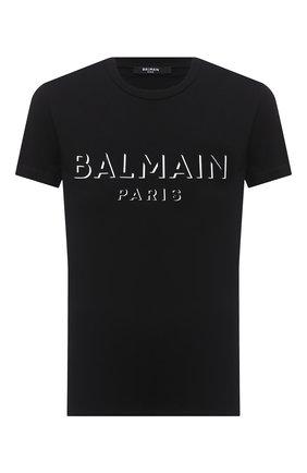 Мужская хлопковая футболка BALMAIN черного цвета, арт. UH11601/I364 | Фото 1