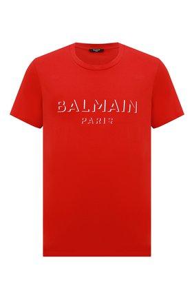 Мужская хлопковая футболка BALMAIN красного цвета, арт. UH11601/I364 | Фото 1