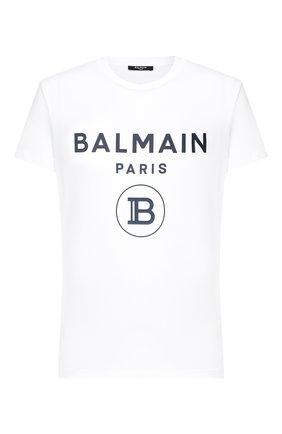 Мужская хлопковая футболка BALMAIN белого цвета, арт. UH11601/I371   Фото 1