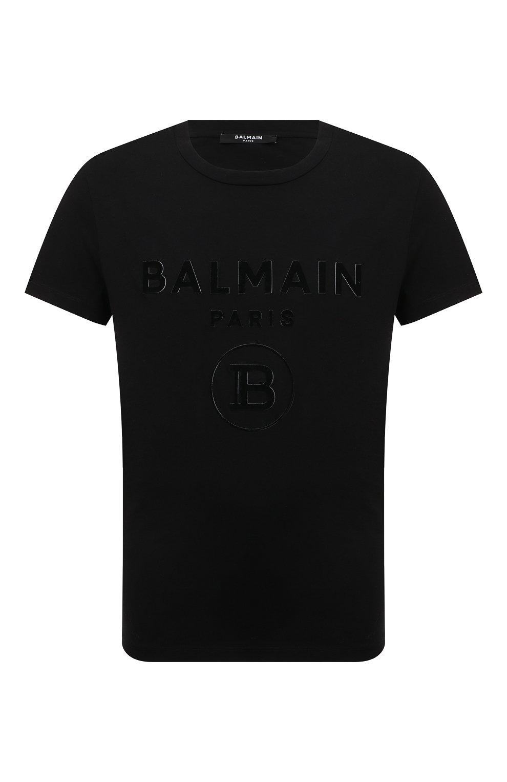 Мужская хлопковая футболка BALMAIN черного цвета, арт. UH11601/I374 | Фото 1 (Рукава: Короткие; Длина (для топов): Стандартные; Принт: С принтом; Мужское Кросс-КТ: Футболка-одежда; Материал внешний: Хлопок; Стили: Кэжуэл)