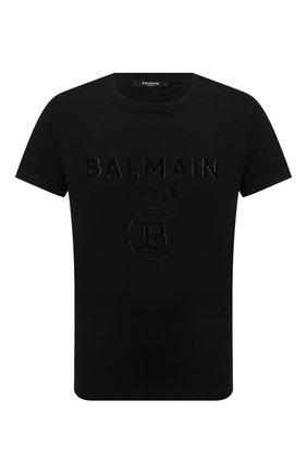 Мужская хлопковая футболка BALMAIN черного цвета, арт. UH11601/I374 | Фото 1