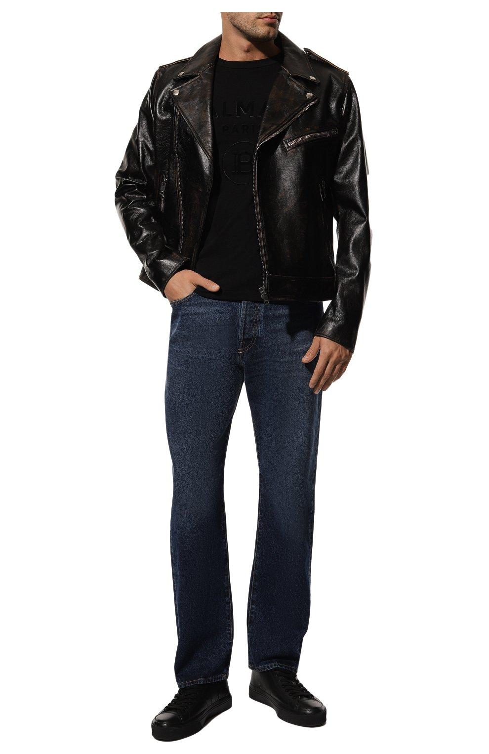 Мужская хлопковая футболка BALMAIN черного цвета, арт. UH11601/I374 | Фото 2 (Рукава: Короткие; Длина (для топов): Стандартные; Принт: С принтом; Мужское Кросс-КТ: Футболка-одежда; Материал внешний: Хлопок; Стили: Кэжуэл)