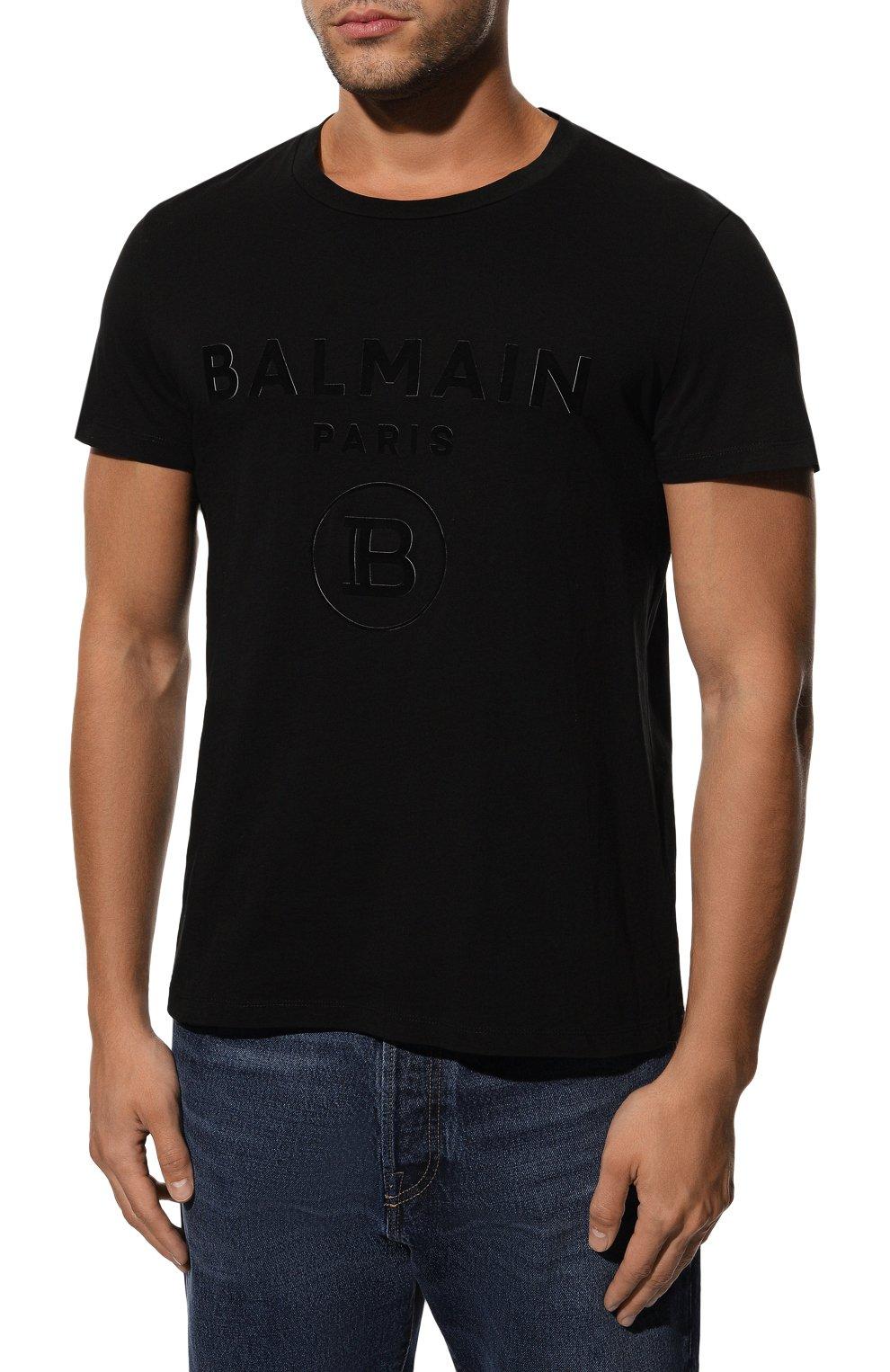 Мужская хлопковая футболка BALMAIN черного цвета, арт. UH11601/I374 | Фото 3 (Рукава: Короткие; Длина (для топов): Стандартные; Принт: С принтом; Мужское Кросс-КТ: Футболка-одежда; Материал внешний: Хлопок; Стили: Кэжуэл)