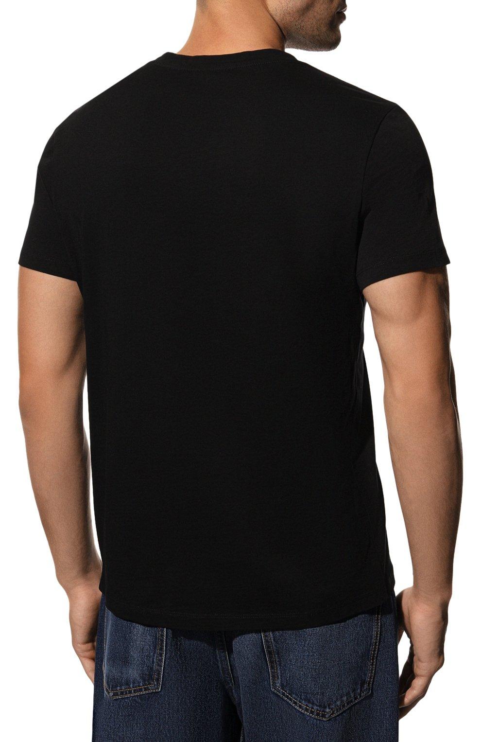 Мужская хлопковая футболка BALMAIN черного цвета, арт. UH11601/I374 | Фото 4 (Рукава: Короткие; Длина (для топов): Стандартные; Принт: С принтом; Мужское Кросс-КТ: Футболка-одежда; Материал внешний: Хлопок; Стили: Кэжуэл)