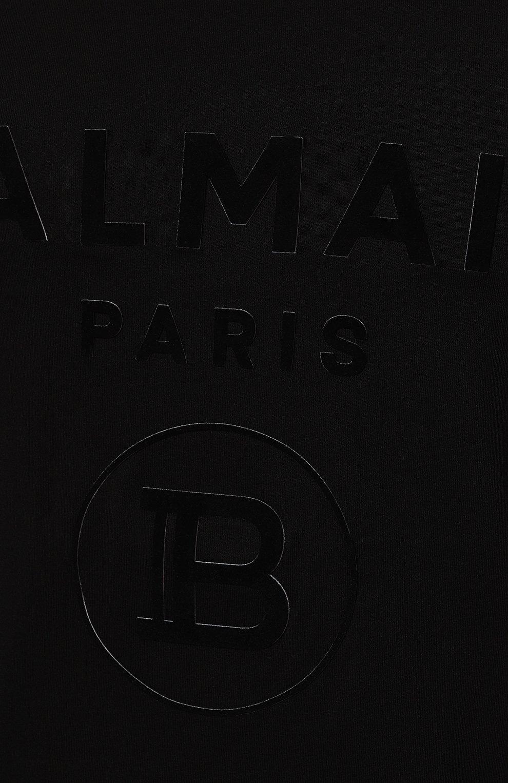 Мужская хлопковая футболка BALMAIN черного цвета, арт. UH11601/I374 | Фото 5 (Рукава: Короткие; Длина (для топов): Стандартные; Принт: С принтом; Мужское Кросс-КТ: Футболка-одежда; Материал внешний: Хлопок; Стили: Кэжуэл)