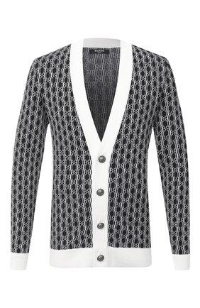 Мужская шерстяной кардиган BALMAIN черно-белого цвета, арт. UH13224/K006   Фото 1