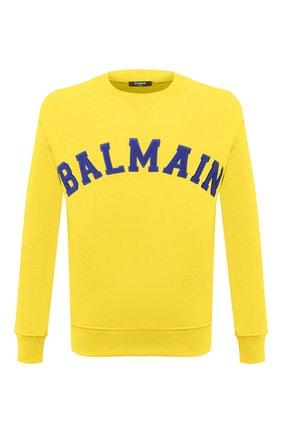 Мужской хлопковый свитшот BALMAIN желтого цвета, арт. UH13279/I377   Фото 1