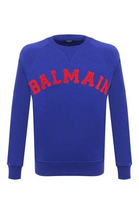 Мужской хлопковый свитшот BALMAIN темно-синего цвета, арт. UH13279/I377   Фото 1