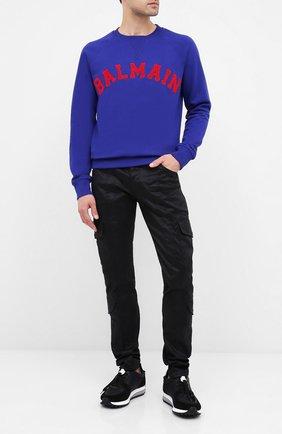 Мужской хлопковый свитшот BALMAIN темно-синего цвета, арт. UH13279/I377   Фото 2