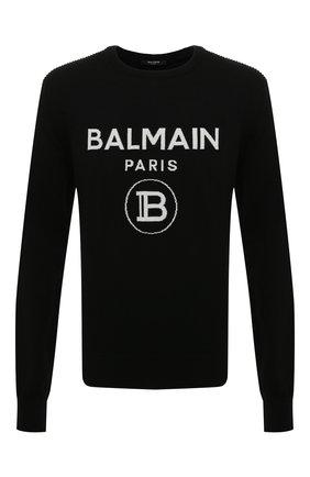 Мужской шерстяной свитер BALMAIN черного цвета, арт. UH13405/K005 | Фото 1