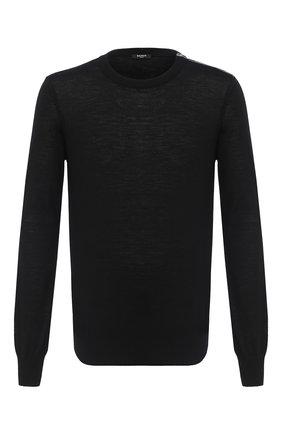 Мужской шерстяной джемпер BALMAIN черного цвета, арт. UH13407/K008 | Фото 1