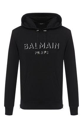 Мужской хлопковое худи BALMAIN черного цвета, арт. UH13642/I364 | Фото 1