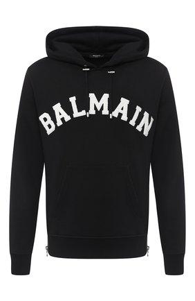 Мужской хлопковое худи BALMAIN черно-белого цвета, арт. UH13642/I377   Фото 1