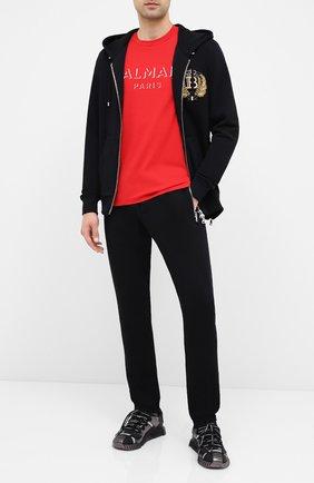 Мужской хлопковые брюки BALMAIN черного цвета, арт. UH15462/I364 | Фото 2