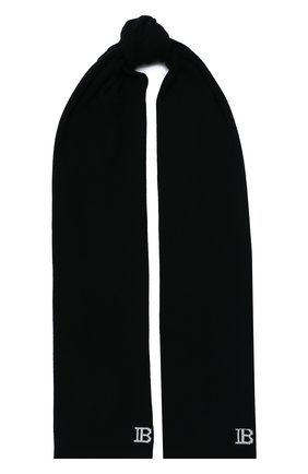 Мужской шарф из шерсти и кашемира BALMAIN черного цвета, арт. UH1A605/K025 | Фото 1