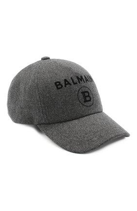 Мужской шерстяная бейсболка BALMAIN серого цвета, арт. UH1A612/W072   Фото 1