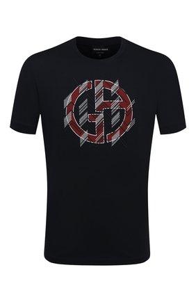 Мужская хлопковая футболка GIORGIO ARMANI темно-синего цвета, арт. 6HST54/SJMCZ | Фото 1