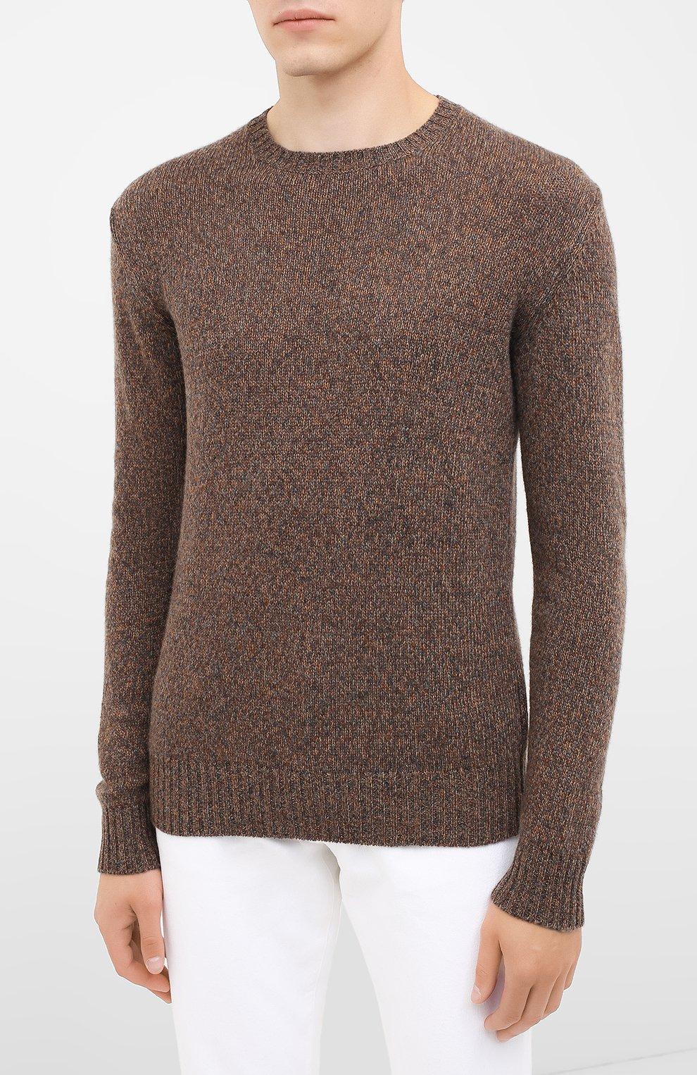 Мужской кашемировый свитер LORO PIANA коричневого цвета, арт. FAG3511 | Фото 3