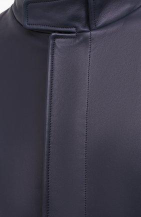Мужской кожаный бомбер LORO PIANA темно-синего цвета, арт. FAL2180 | Фото 5